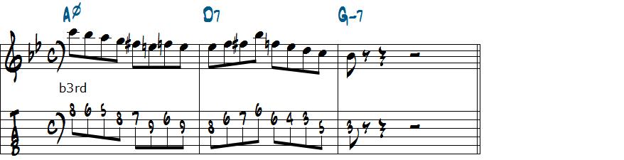 Am7(b5)のb3rdをターゲットノートに加えたアレンジ楽譜