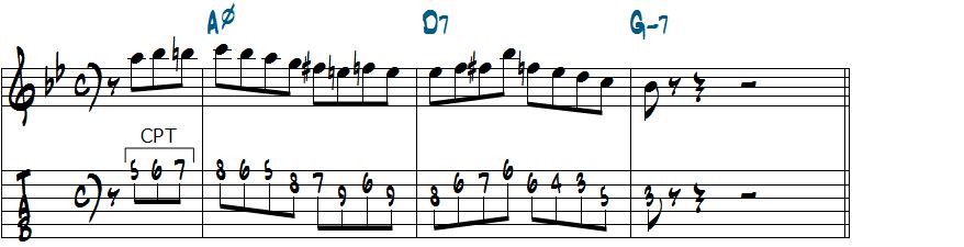 Am7(b5)でアポジャトゥーラを使ったアレンジ楽譜