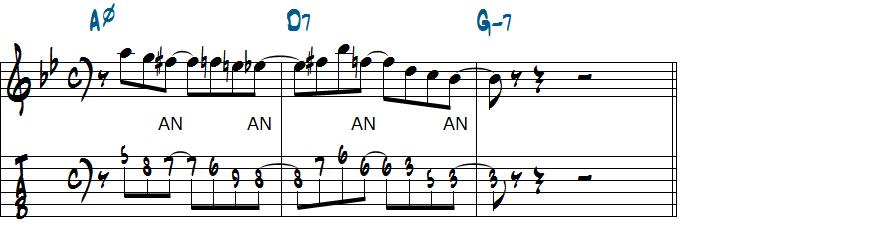 アンティシペーションを無くした8分のリックにアレンジした楽譜