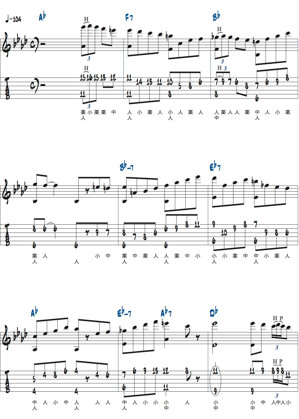 Romain Pilonが弾くベースとメロディを同時に弾くDonna Lee楽譜ページ1
