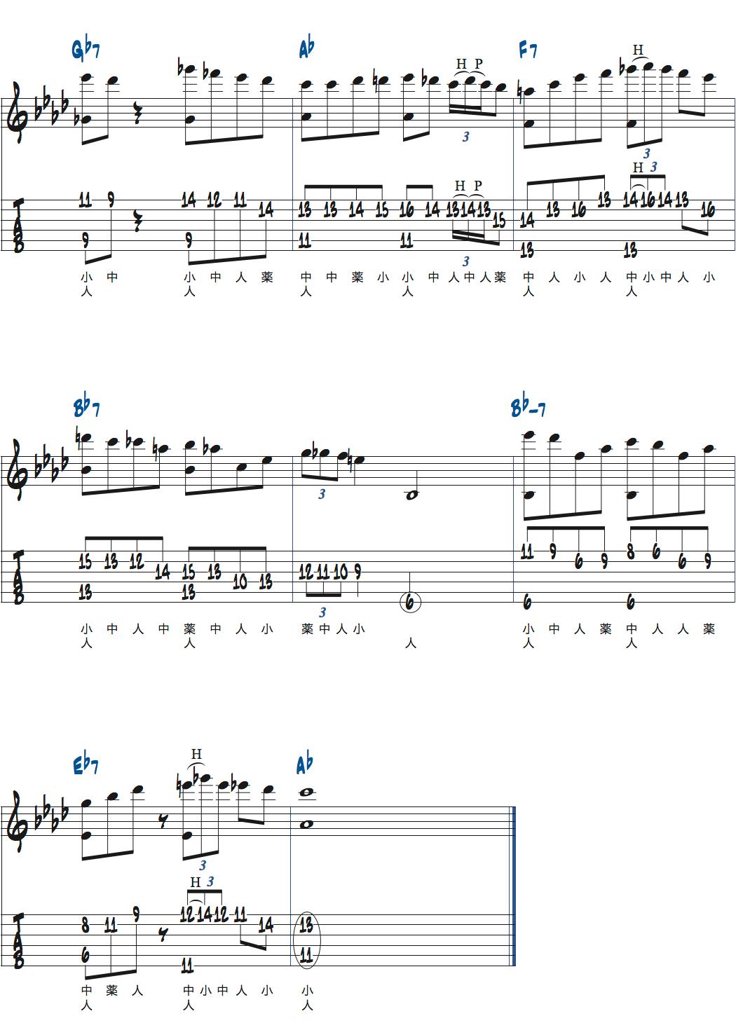 Romain Pilonが弾くベースとメロディを同時に弾くDonna Lee楽譜ページ2