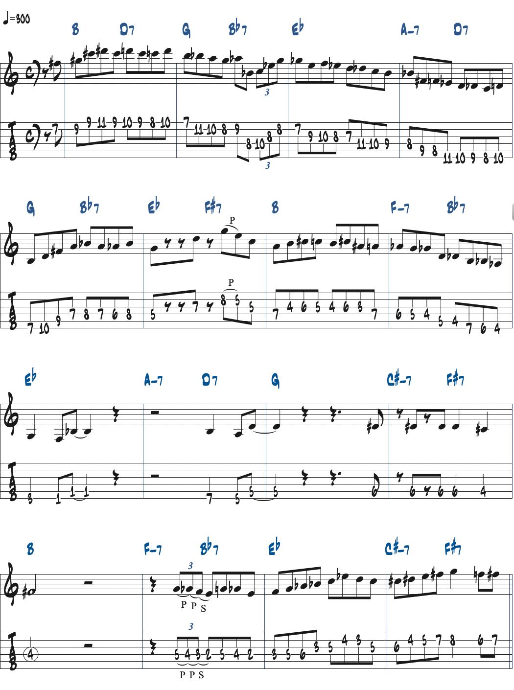 Cecil Alexanderが弾くGiant Stepsタブ譜つきギタースコア楽譜ページ1