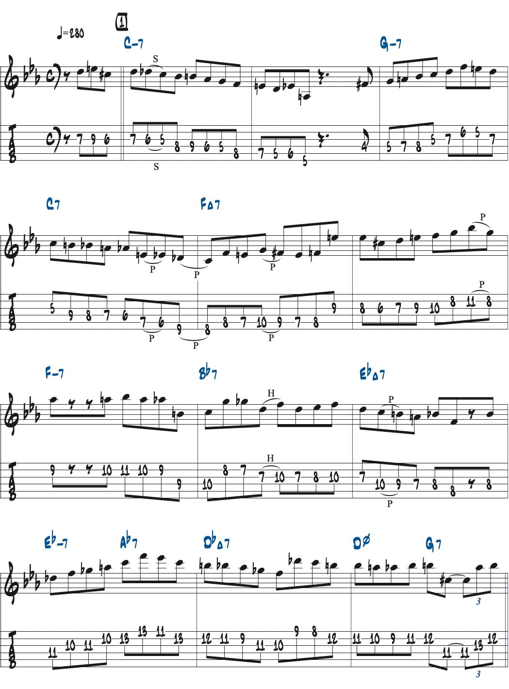 Cecil Alexanderが弾くSolarアドリブ1コーラス目楽譜