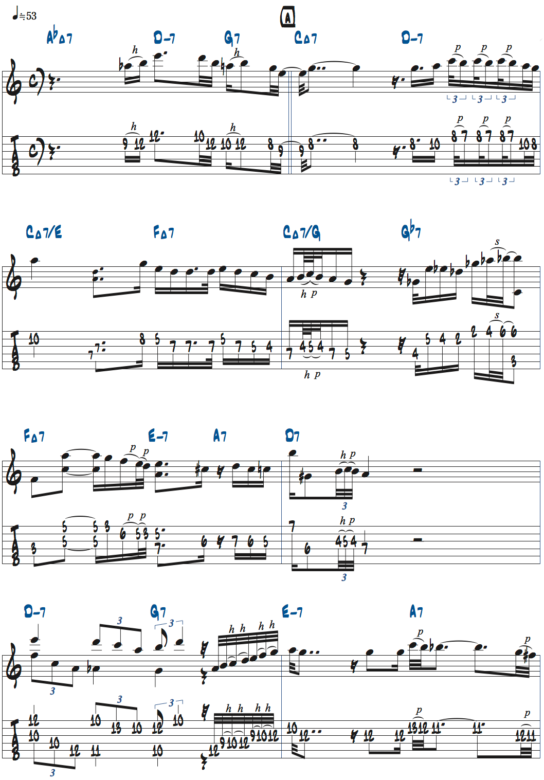 ギラッド・ヘクセルマンのSkylarkアドリブ・1コーラス目楽譜ページ1
