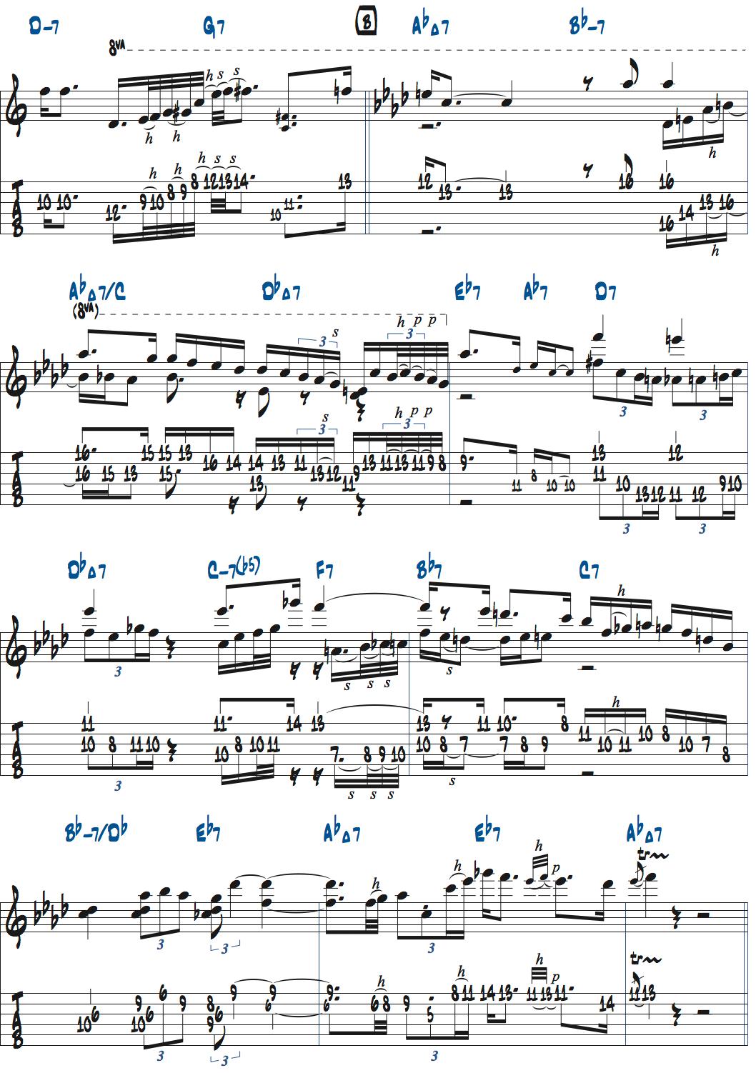 ギラッド・ヘクセルマンのSkylarkアドリブ・1コーラス目楽譜ページ2