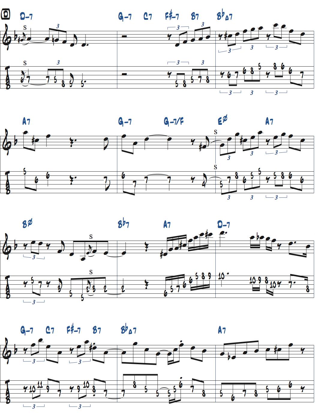 Jesse Van Ruller『Honeysuckle Rose』アドリブ楽譜ページ1