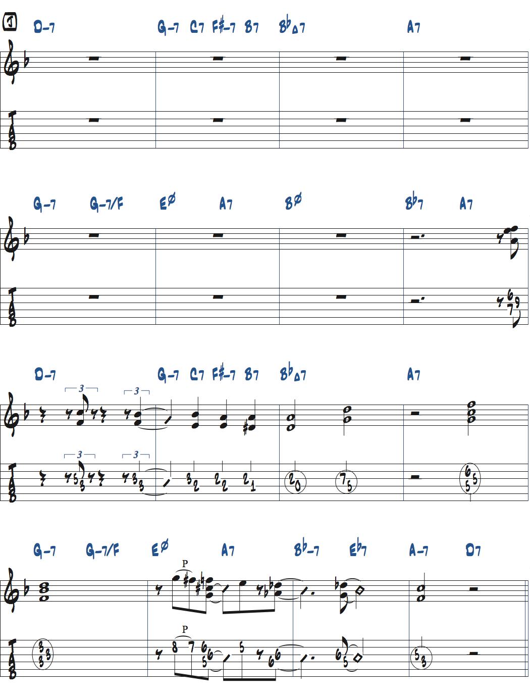 Jesse Van Ruller『Honeysuckle Rose』ベースソロのコンピング楽譜ページ1
