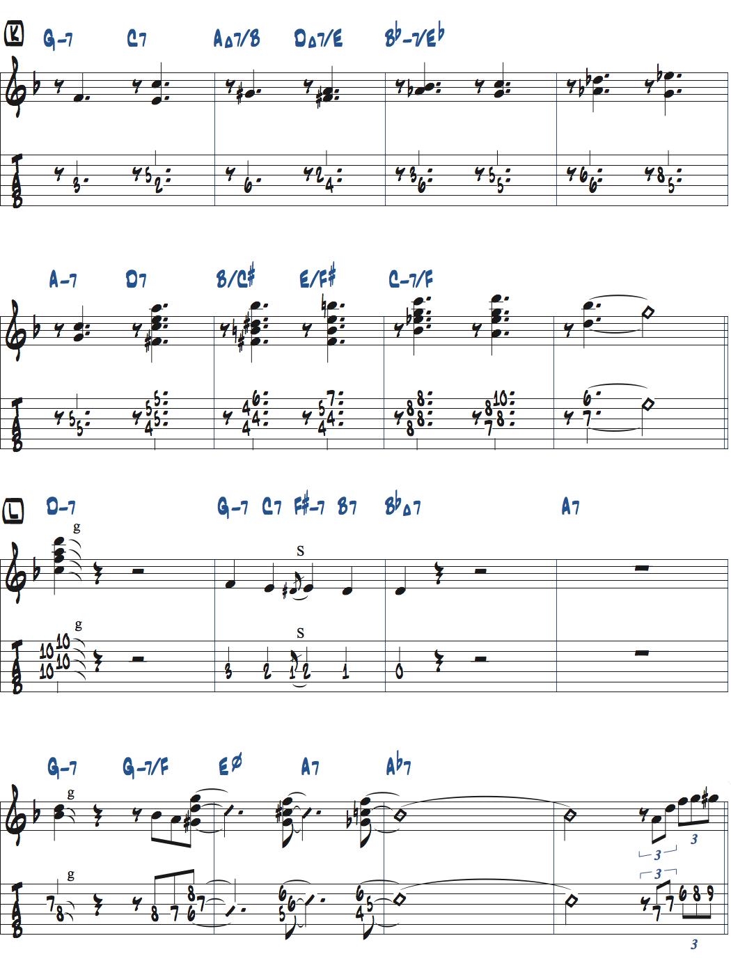 Jesse Van Ruller『Honeysuckle Rose』ベースソロのコンピング楽譜ページ2