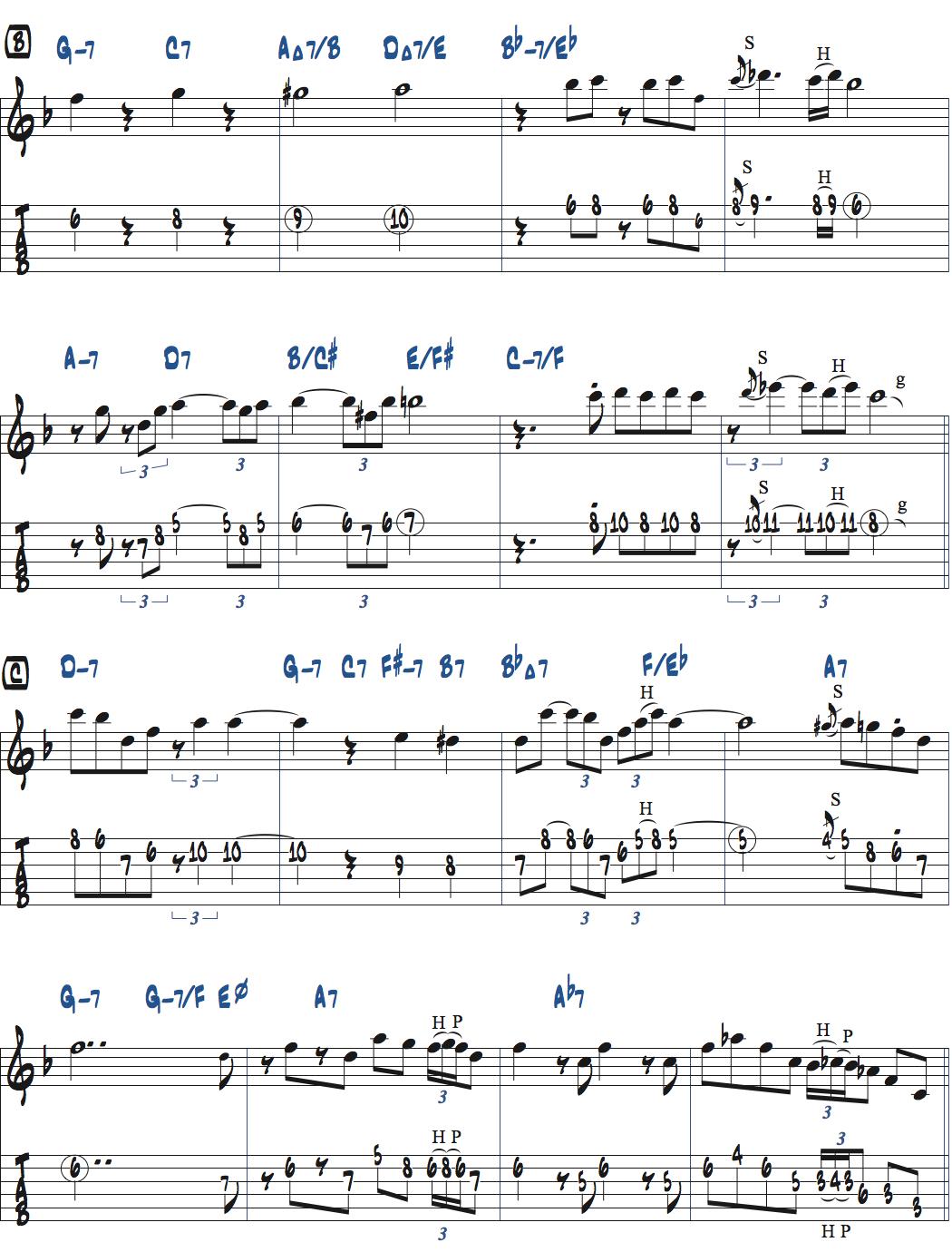 Jesse Van Ruller『Honeysuckle Rose』メロディ楽譜ページ2