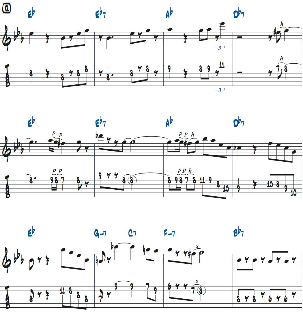 ジムホールのWithout a Songアドリブ1コーラス目楽譜ページ1