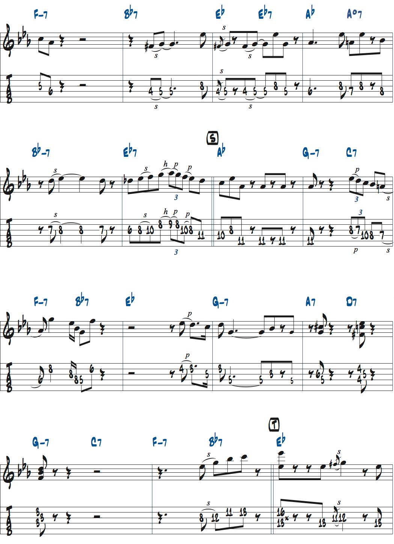 ジムホールのWithout a Songアドリブ1コーラス目楽譜ページ3