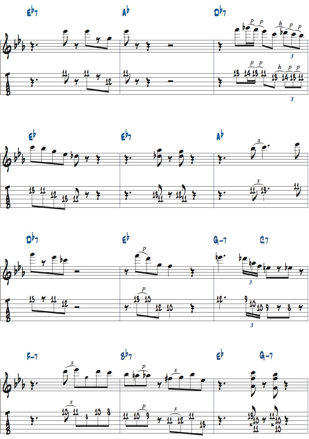 ジムホールのWithout a Songアドリブ1コーラス目楽譜ページ4