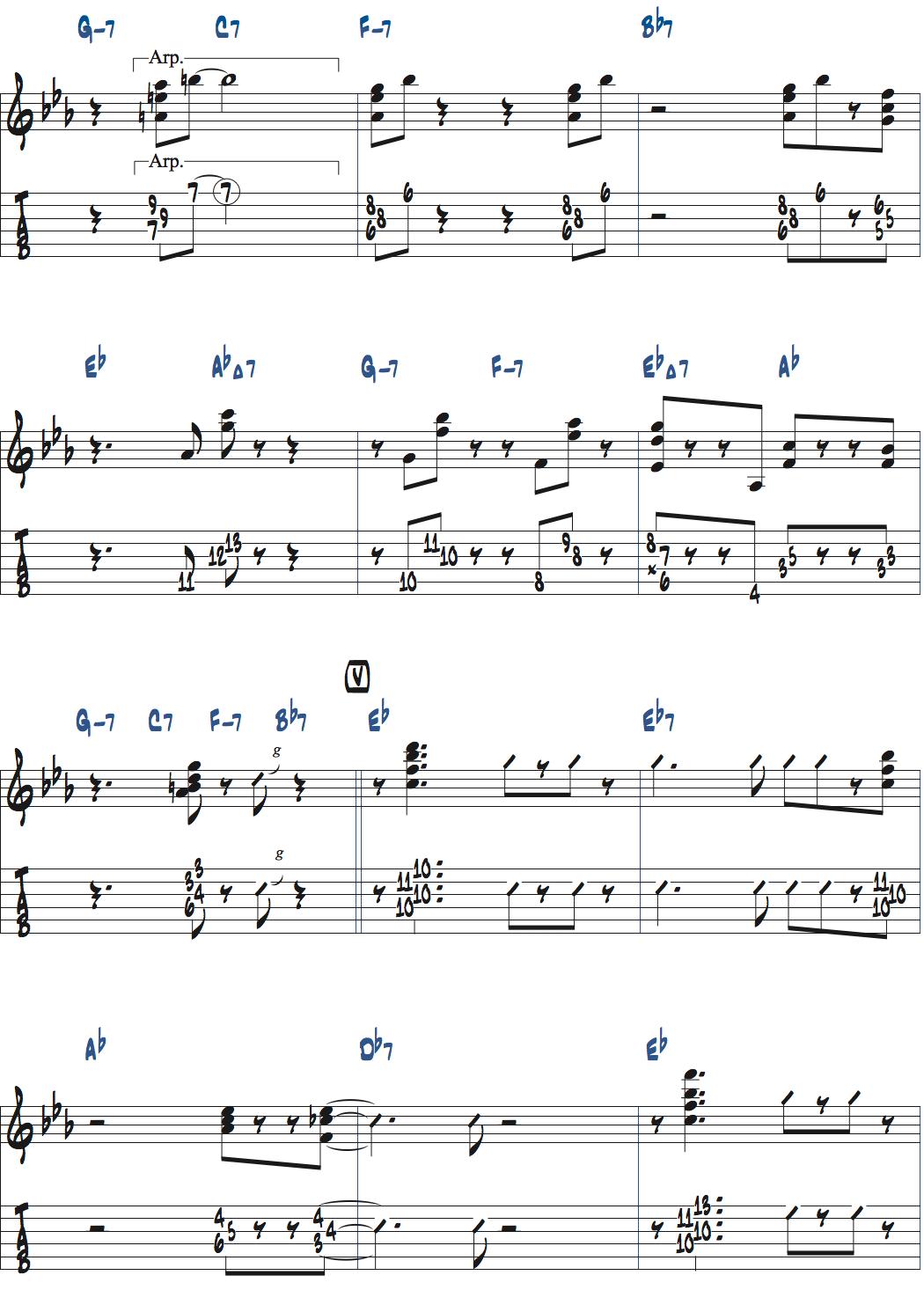 ジムホールのWithout a Songアドリブ2コーラス目楽譜ページ2