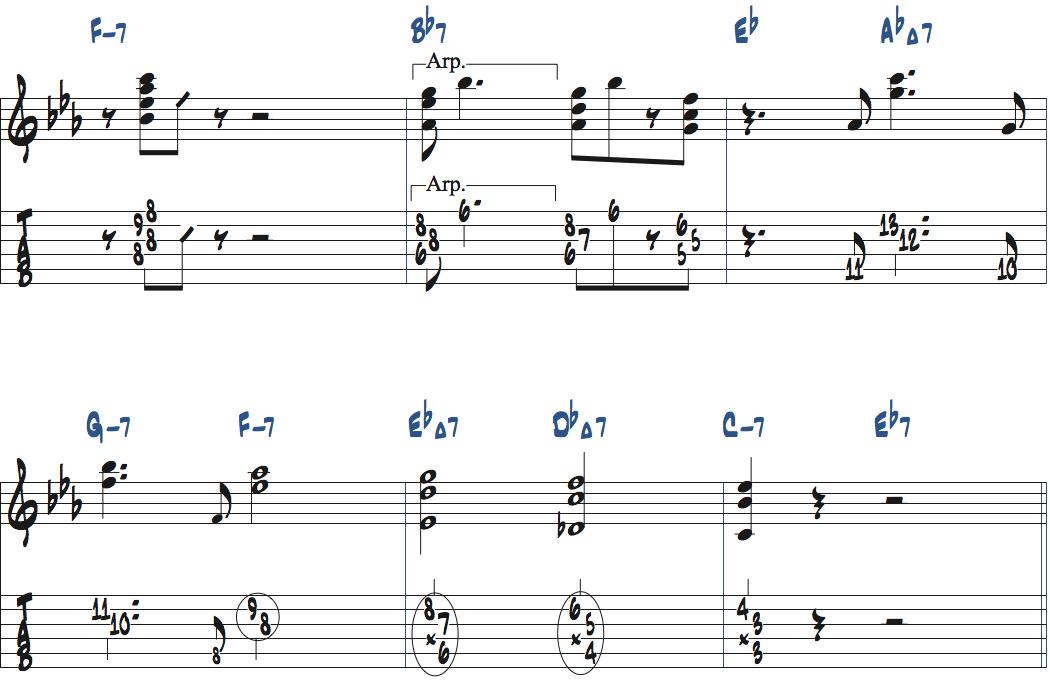 ジムホールのWithout a Songアドリブ2コーラス目楽譜ページ5