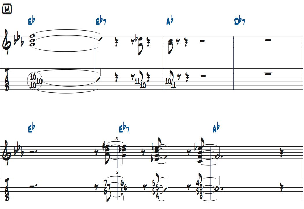 ジムホールのWithout a Songベースソロのコンピング1コーラス目楽譜ページ1