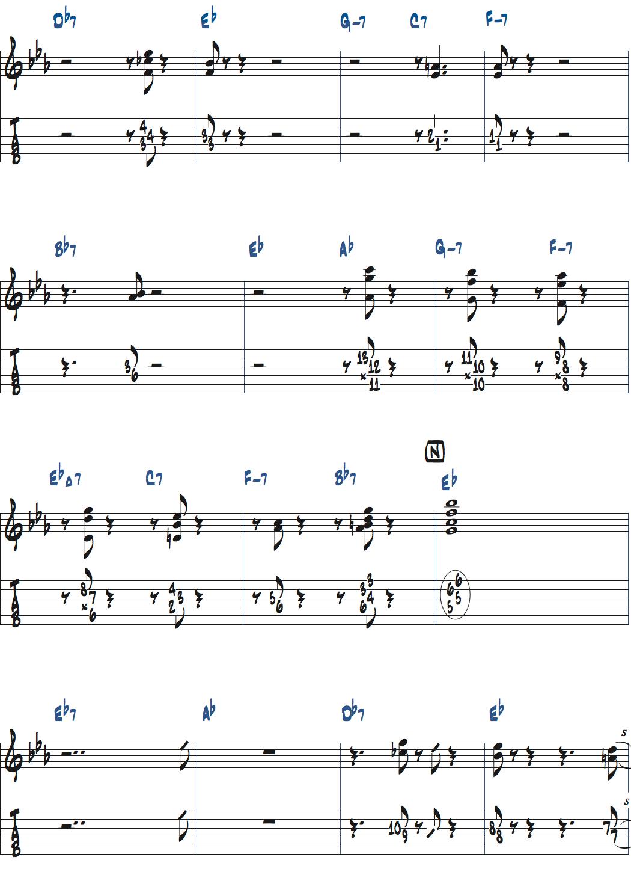 ジムホールのWithout a Songベースソロのコンピング1コーラス目楽譜ページ2