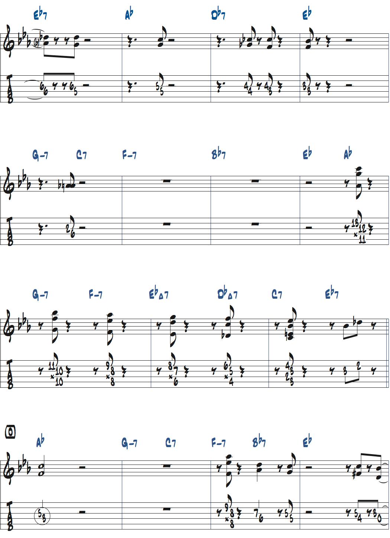 ジムホールのWithout a Songベースソロのコンピング1コーラス目楽譜ページ3