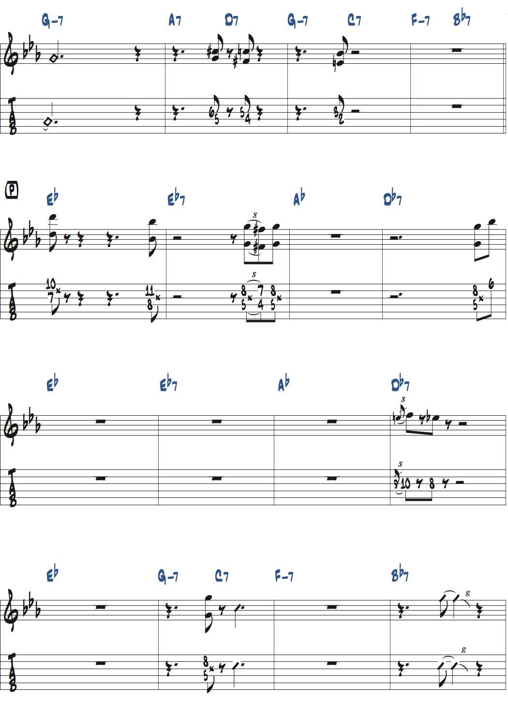 ジムホールのWithout a Songベースソロのコンピング1コーラス目楽譜ページ4