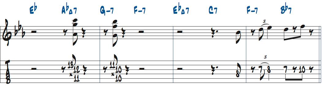 ジムホールのWithout a Songベースソロのコンピング1コーラス目楽譜ページ5
