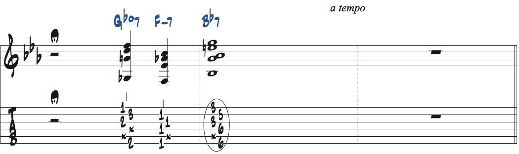 ジムホールのWithout a Song後テーマ前のルバートセクション楽譜2ページ目
