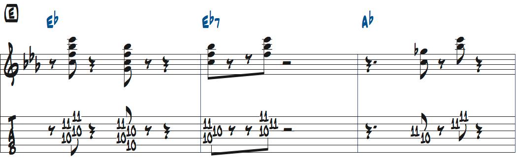ジムホールのWithout a Songサックスのコンピング1コーラス目楽譜ページ1