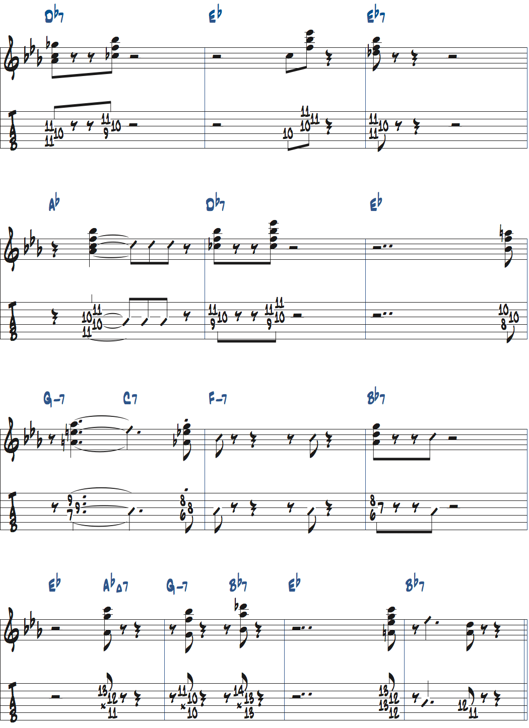 ジムホールのWithout a Songサックスのコンピング1コーラス目楽譜ページ2