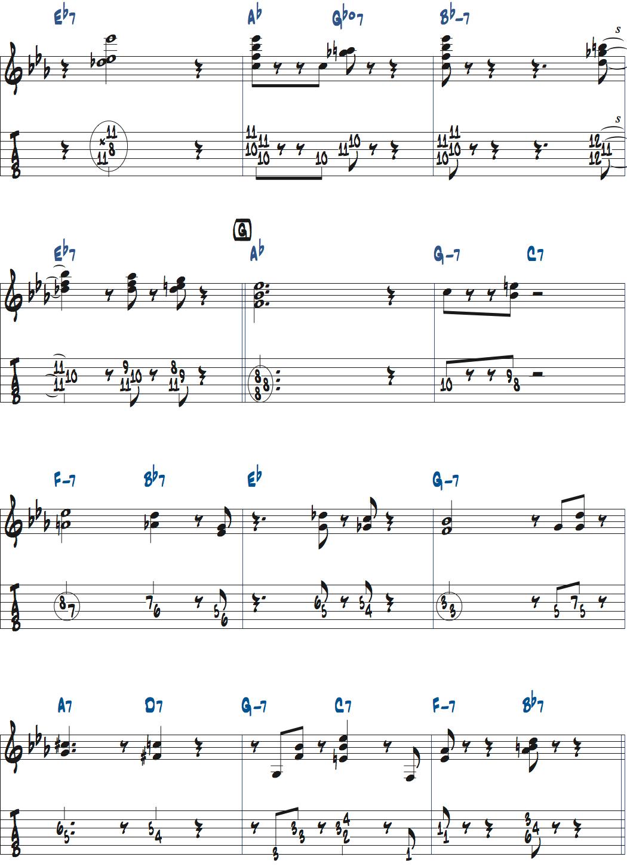 ジムホールのWithout a Songサックスのコンピング1コーラス目楽譜ページ4