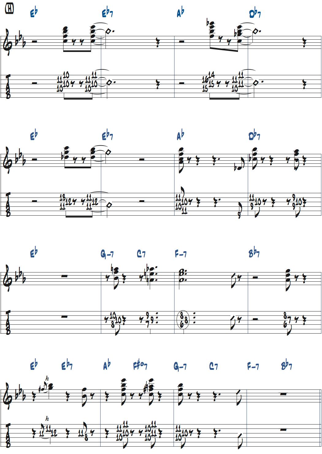 ジムホールのWithout a Songサックスのコンピング1コーラス目楽譜ページ5