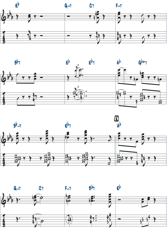 ジムホールのWithout a Songサックスのコンピング2コーラス目楽譜ページ3