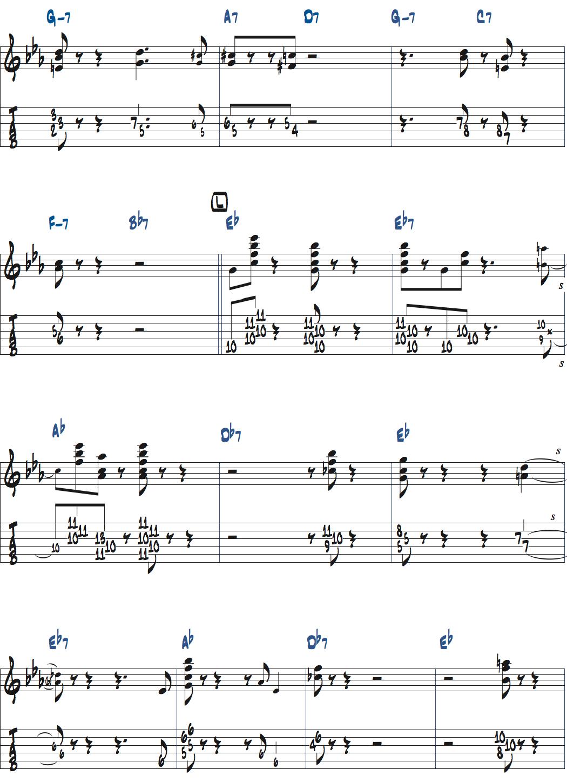 ジムホールのWithout a Songサックスのコンピング2コーラス目楽譜ページ4