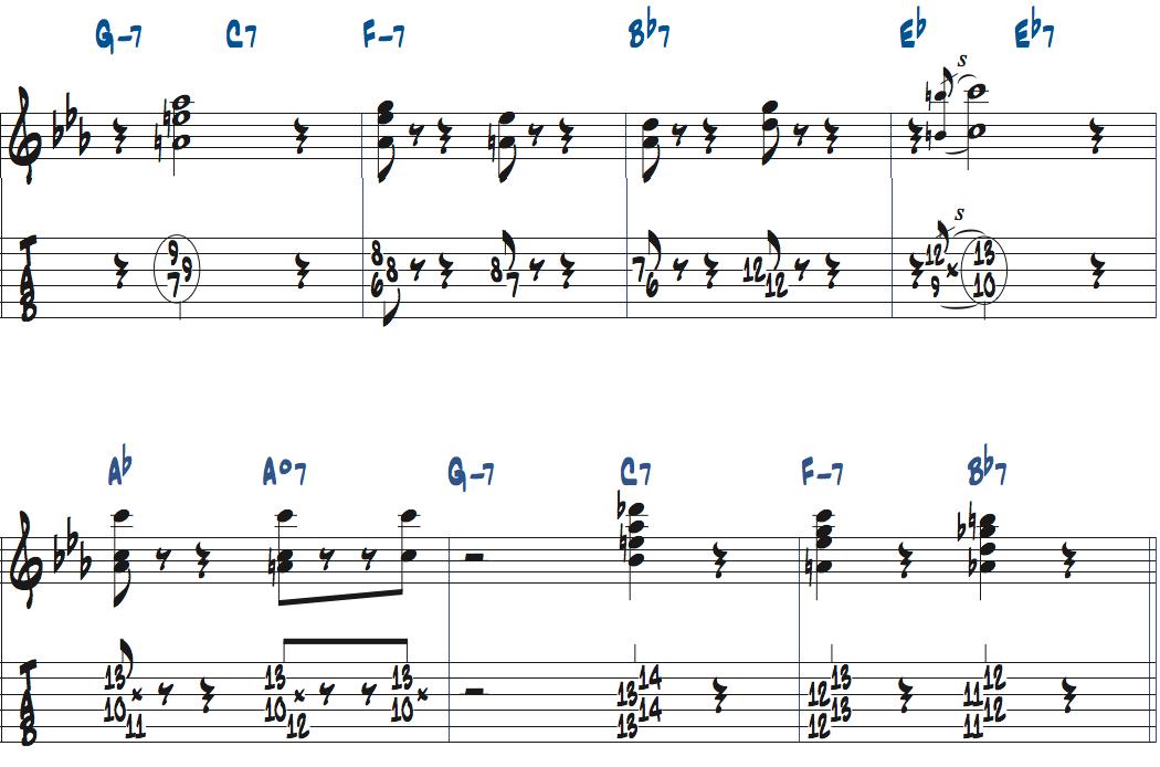 ジムホールのWithout a Songサックスのコンピング2コーラス目楽譜ページ5