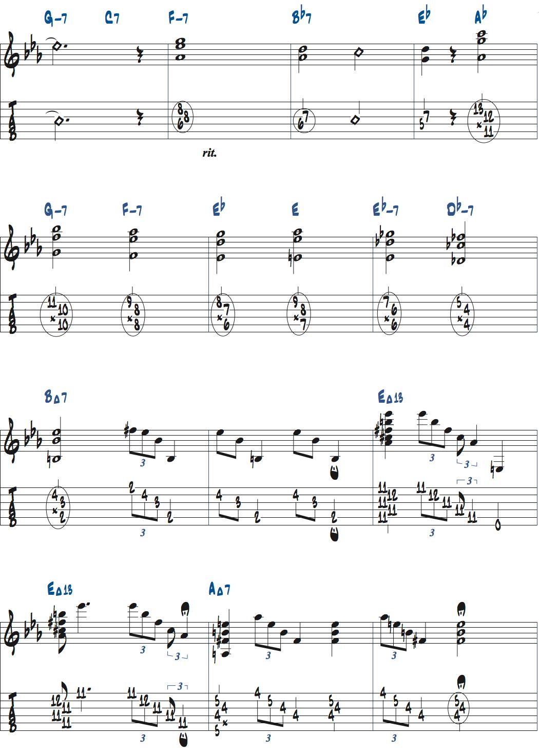 ジムホールのWithout a Song後テーマメロディ楽譜2ページ目