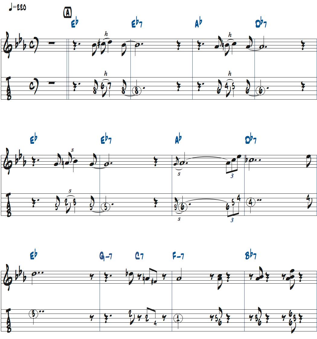 ジムホールのWithout a Song前テーマメロディ楽譜1ページ目