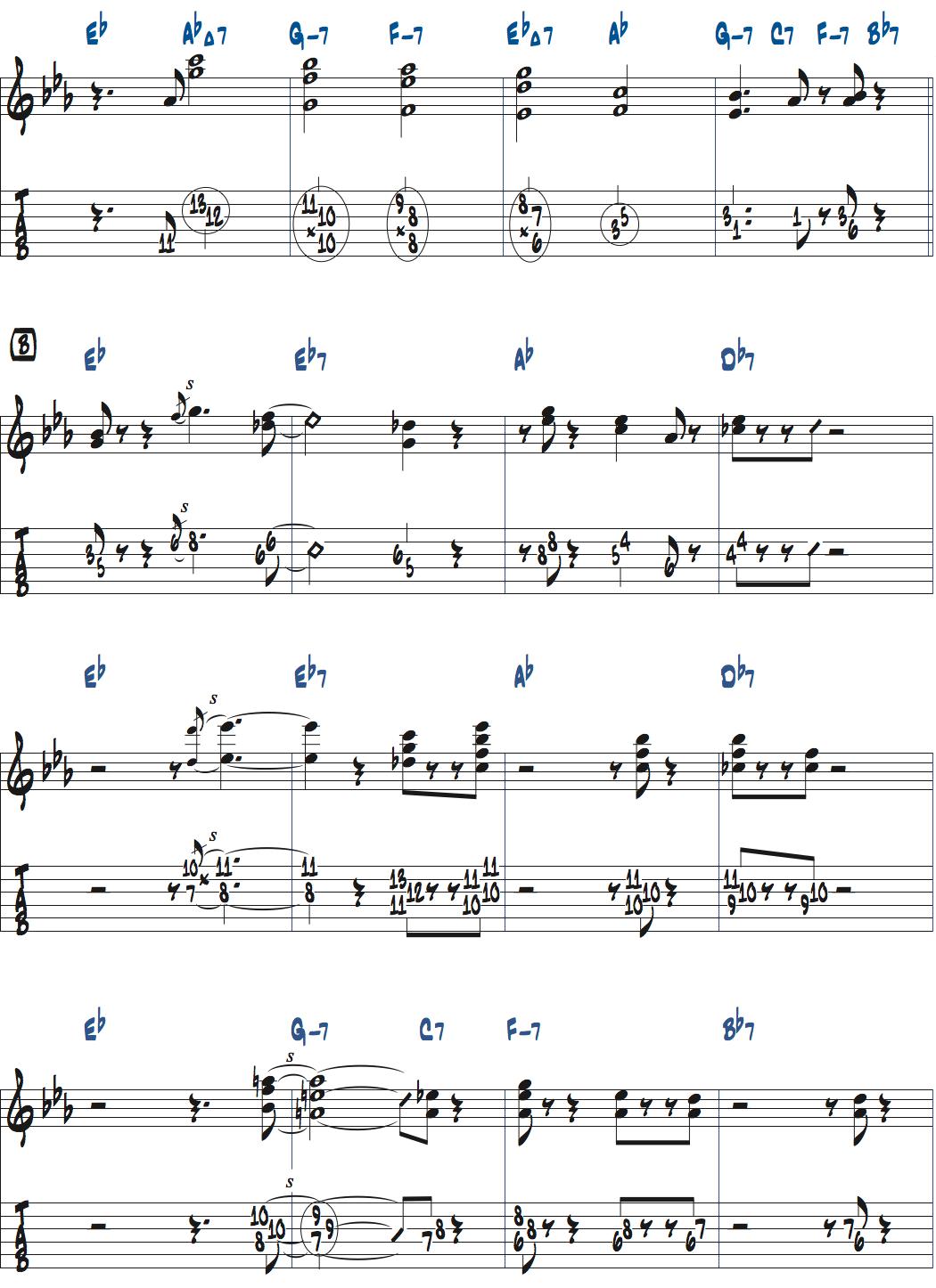 ジムホールのWithout a Song前テーマメロディ楽譜2ページ目