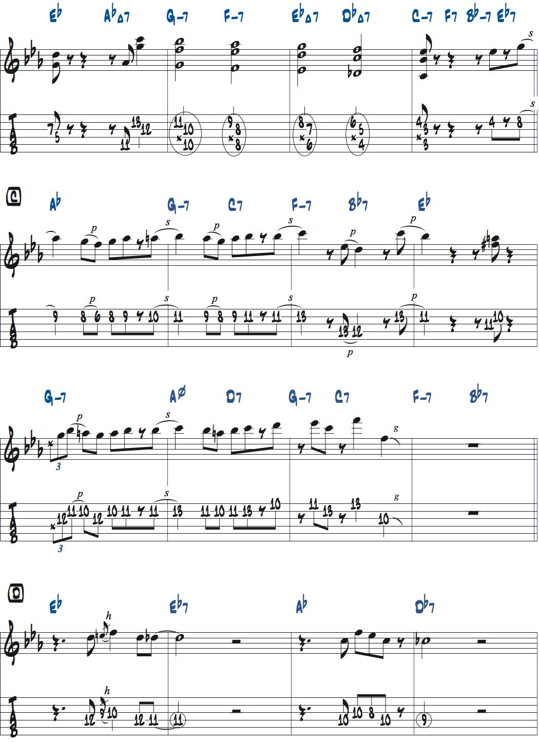 ジムホールのWithout a Song前テーマメロディ楽譜3ページ目