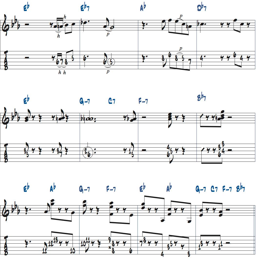 ジムホールのWithout a Song前テーマメロディ楽譜4ページ目