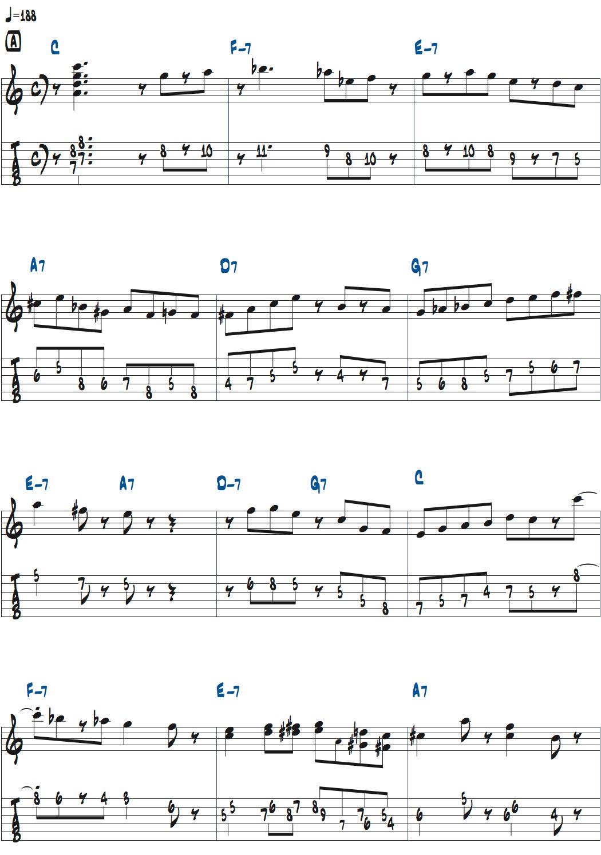ジョー・パスのYardbird Suiteアドリブ1コーラス目楽譜1ページ