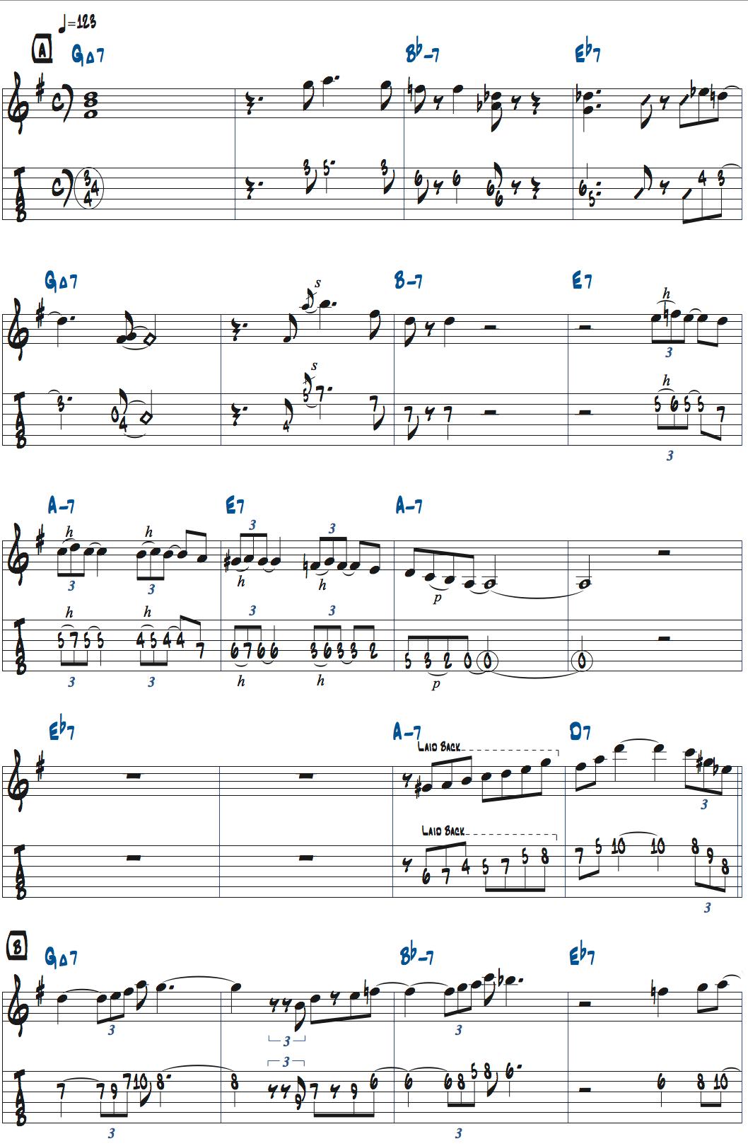 ジョナサン・クライスバーグOut Of Nowhereのアドリブ1コーラス目楽譜ページ1