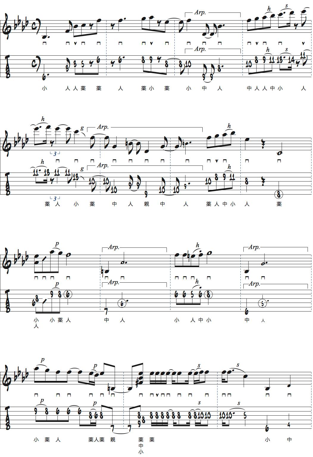 カート・ローゼンウィンケル「Along Came Betty」イントロタブ譜付きギタースコアページ2