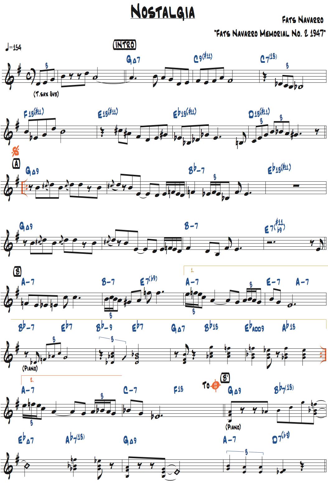 ファッツ・ナヴァロ作曲 nostalgiaのリードシート・ページ1楽譜