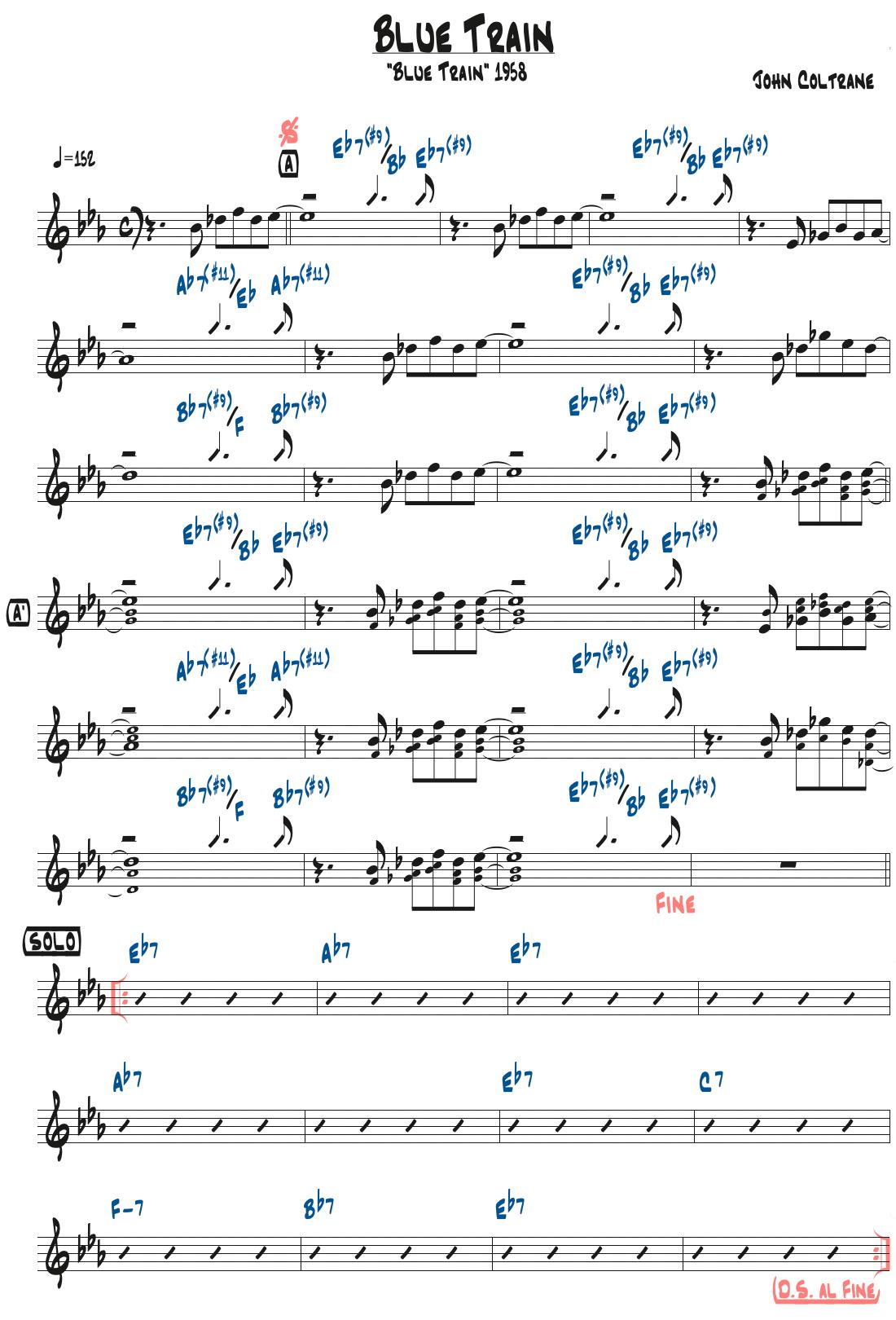 John Coltrane作曲『Blue Train』のリードシート