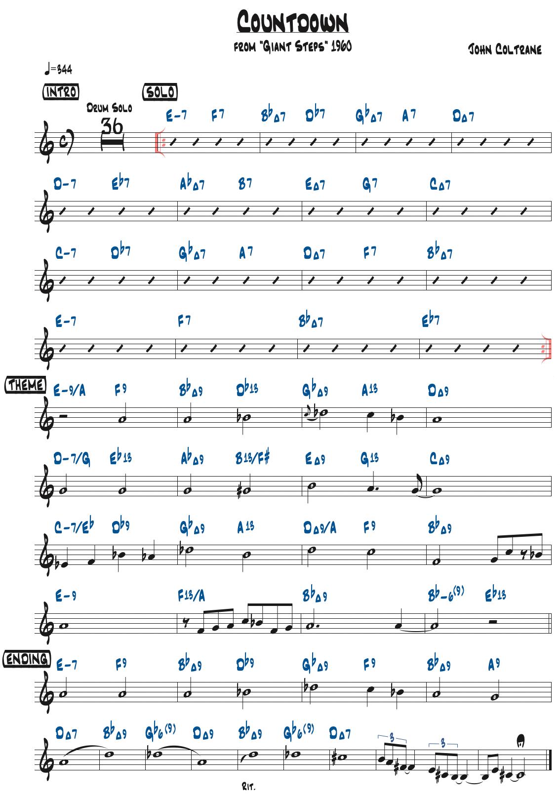 John Coltrane作曲『Countdown』のリードシート