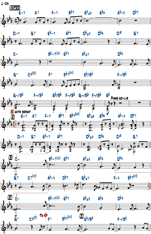 ジョン・コルトレーン作曲Moment's Noticeのリードシートページ1楽譜