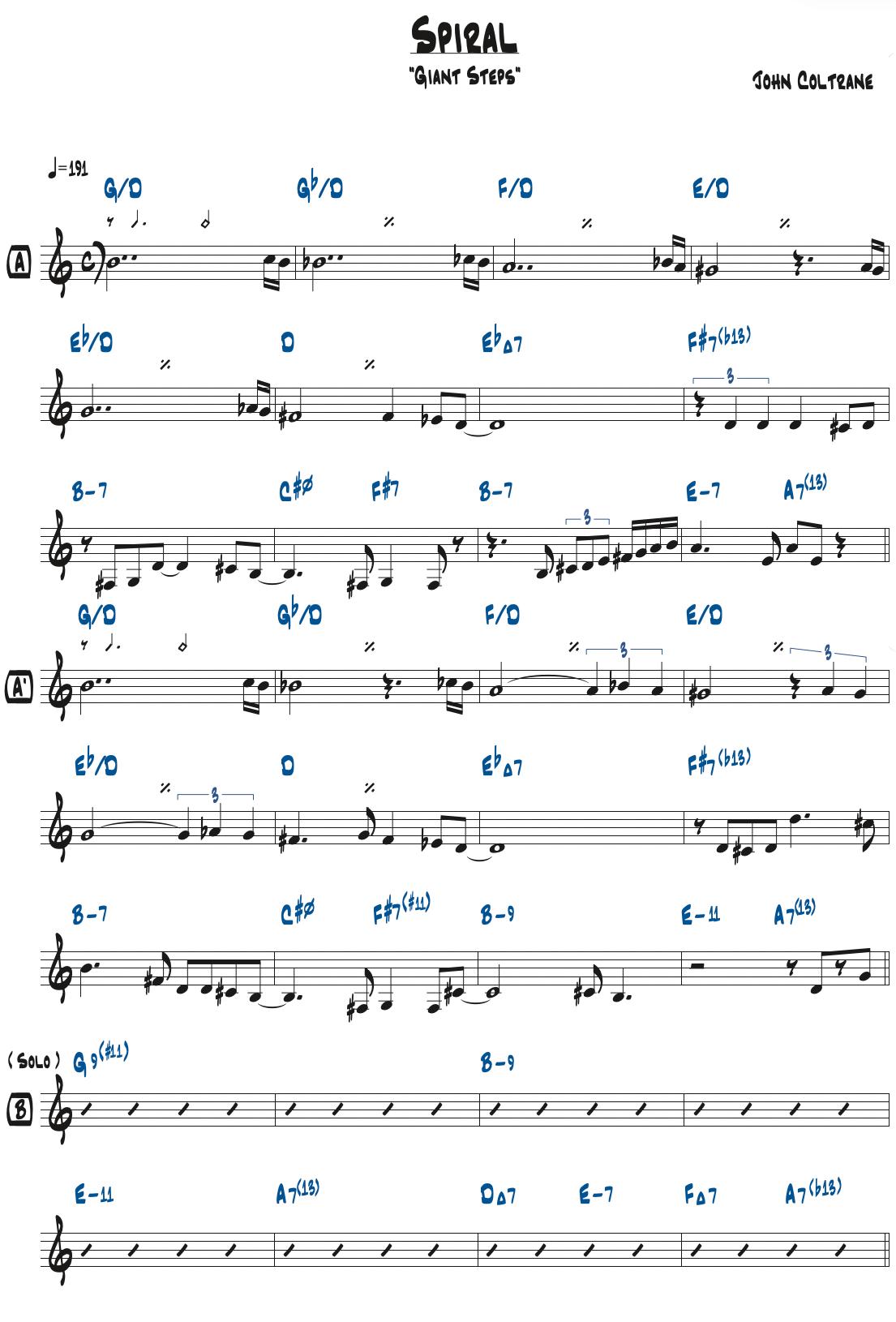 John Coltrane作曲『Spiral』のリードシート