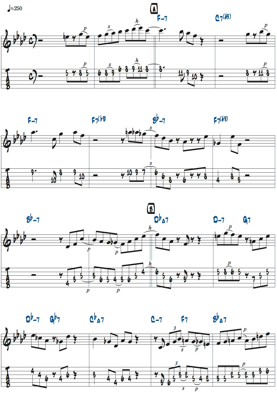 マイク・モレーノのAireginアドリブ・1コーラス目楽譜ページ1