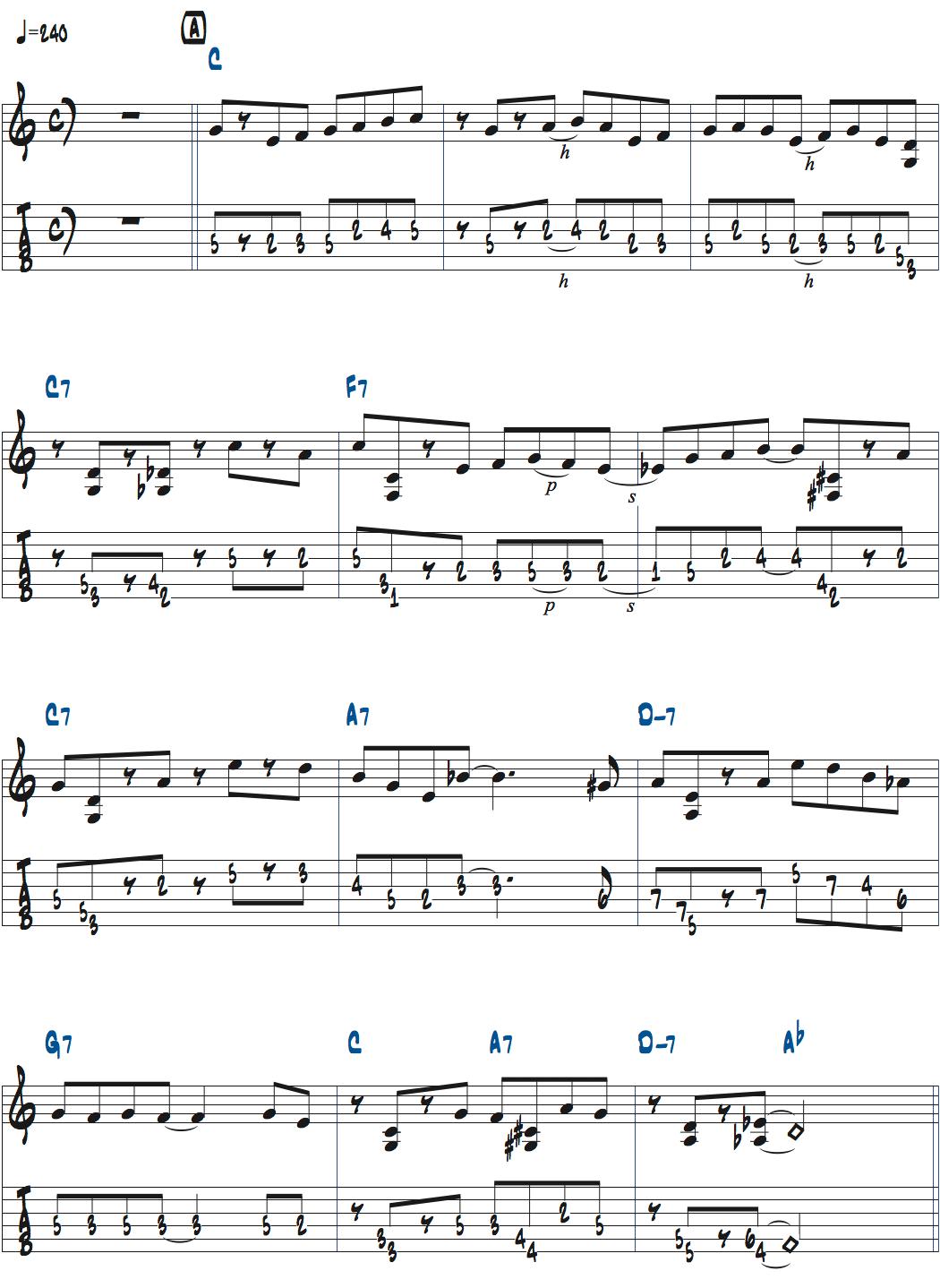 Mike MorenoのPerhapsメロディ1コーラス目楽譜