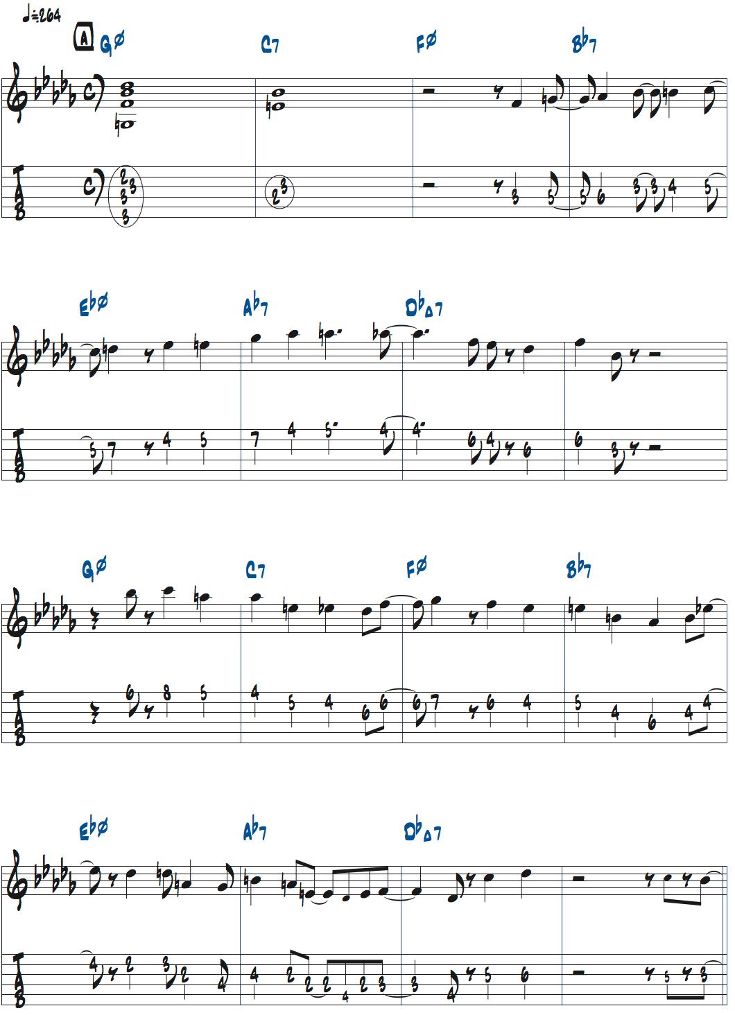 マイク・モレーノのWoody'n Youアドリブ・1コーラス目楽譜ページ1