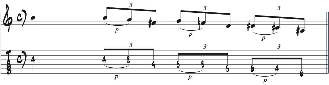 メシアンモードをシンメトリーで弾くアイデア1楽譜