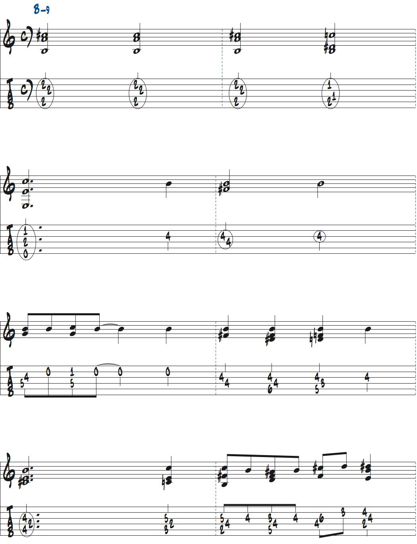 Bm9コードの発展方法1楽譜