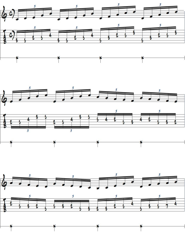 5連符を使ったメトロノーム練習ページ1楽譜